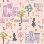 Lewis & Irene - Poodle & Doodle - 6359 - Dog Walking Scene on Pale Pink - A360.2 - Cotton Fabric
